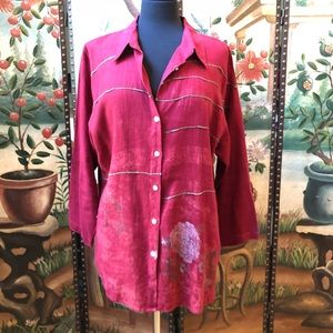 Chicos Design Red Linen Button Floral Pattern Sz 3
